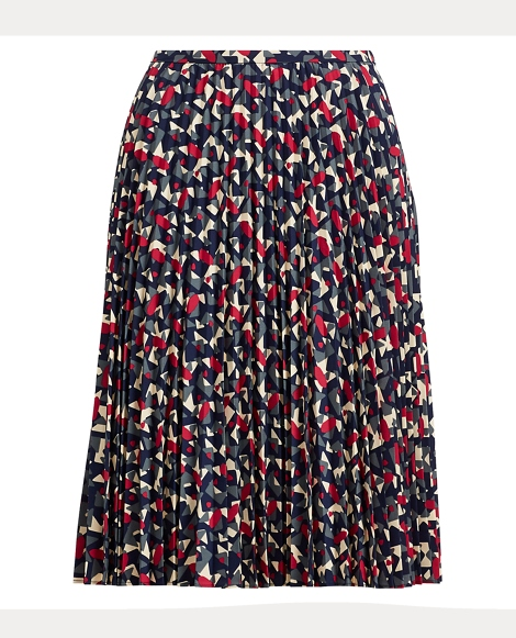 Pleated Crepe A-Line Skirt