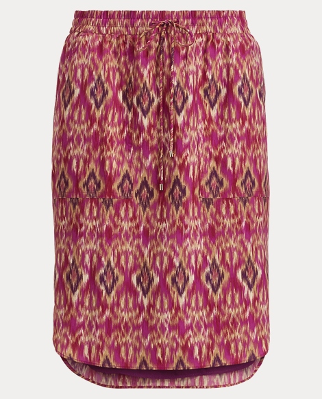 Ikat-Print Crepe Skirt