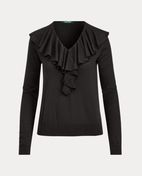 Ruffled V-Neck Sweater