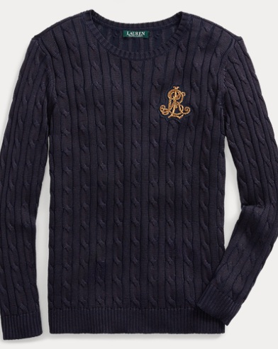Bullion-Patch Cable Sweater