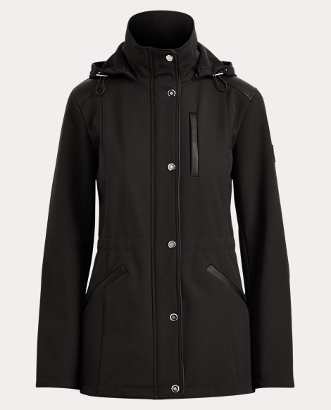 Faux Leather-Trim Hooded Coat