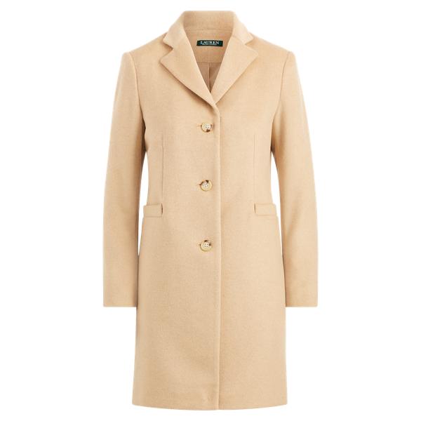 Ralph Lauren Wool-Blend 3-Button Coat Camel 10