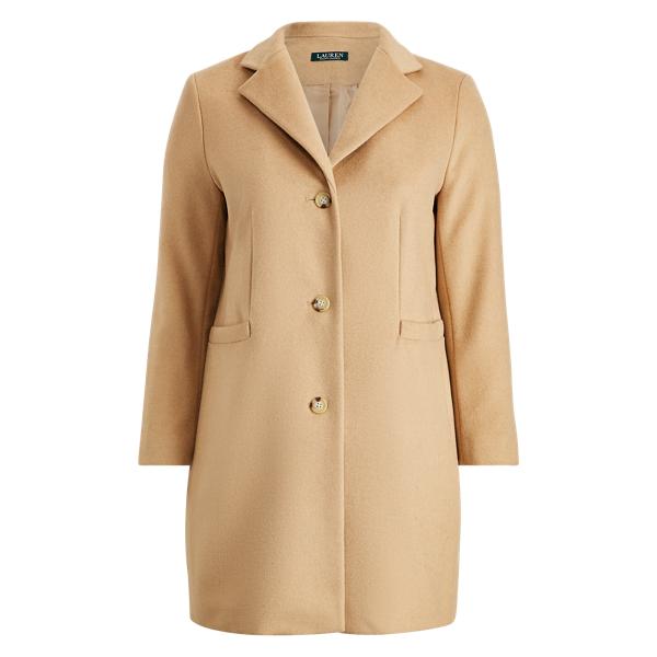Ralph Lauren Wool-Blend 3-Button Coat Camel 14