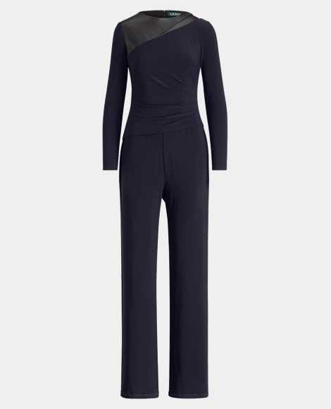 Leather-Trim Jersey Jumpsuit
