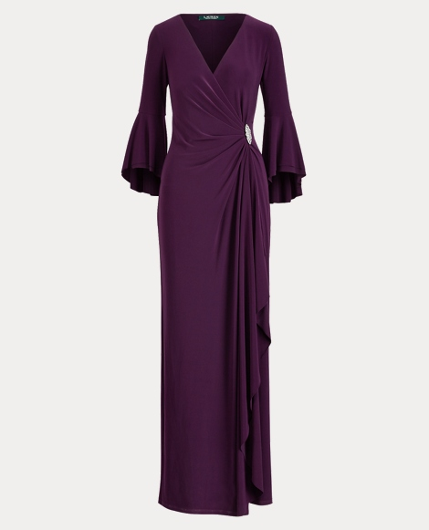Ruched Jersey Gown With Brooch