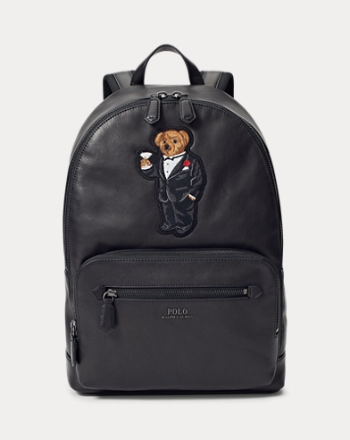 Martini Bear Leather Backpack
