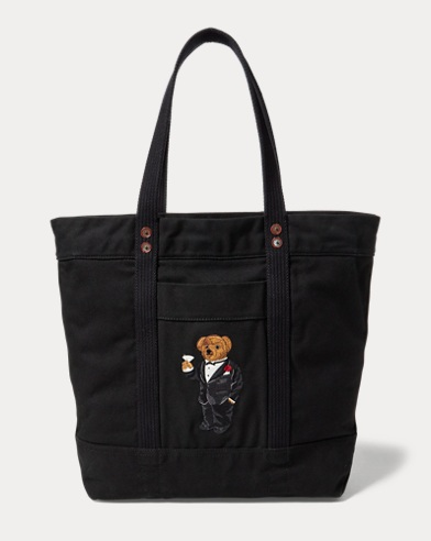 Martini Bear Canvas Tote