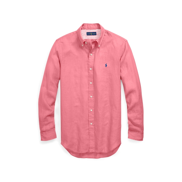 Ralph Lauren Classic Fit Linen Shirt Hyannis Red M