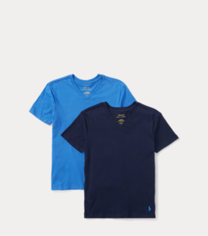2-Pack Polo Ralph Lauren Boys V-Neck T-Shirt (Racer Blue / Cruiser Navy)