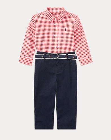 Gingham Shirt, Pant & Belt Set