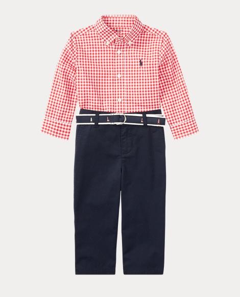 Gingham Shirt, Pant & Belt Set