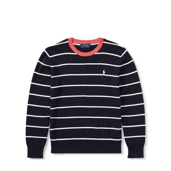 Ralph Lauren Striped Cotton Sweater Hunter Navy Multi Xl
