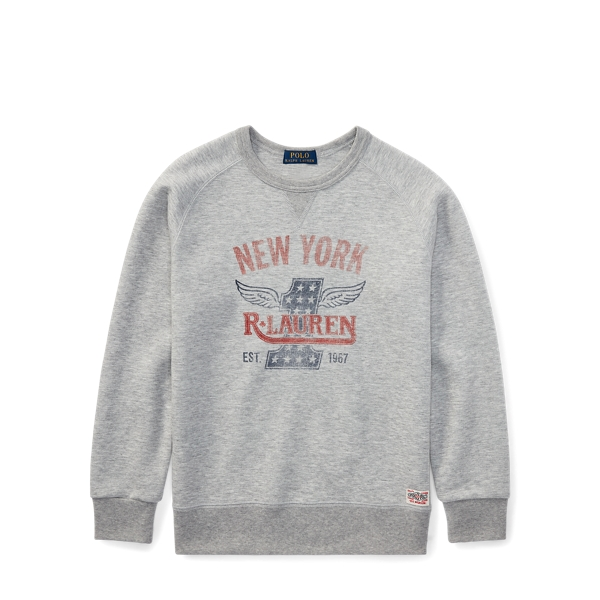 Ralph Lauren Double-Knit Graphic Sweatshirt Light Grey Heather S