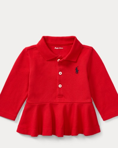 Peplum Long-Sleeve Polo Shirt