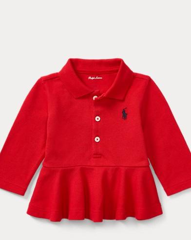 Peplum Long-Sleeve Polo Shirt