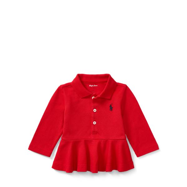 Ralph Lauren Peplum Long-Sleeve Polo Shirt Rl2000 Red 24M