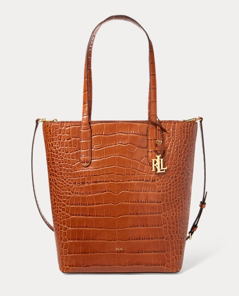 Crocodile-Embossed Alexis Tote