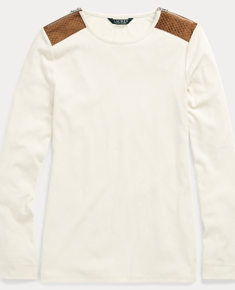 Stretch Cotton Long-Sleeve Top