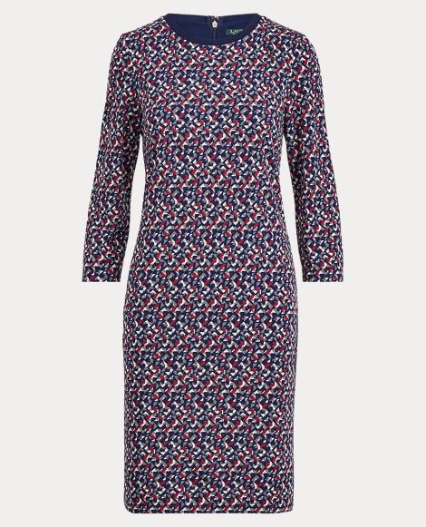 Geometric Stretch Jersey Dress