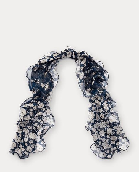 Ruffled Floral Silk Scarf