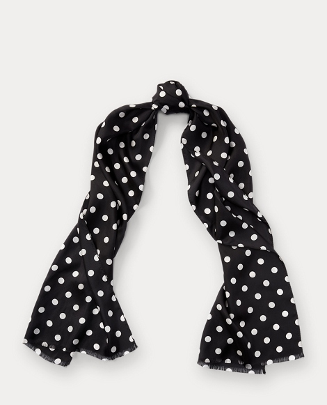 Michelle Polka-Dot Silk Scarf
