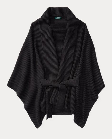 Belted Ribbed Poncho