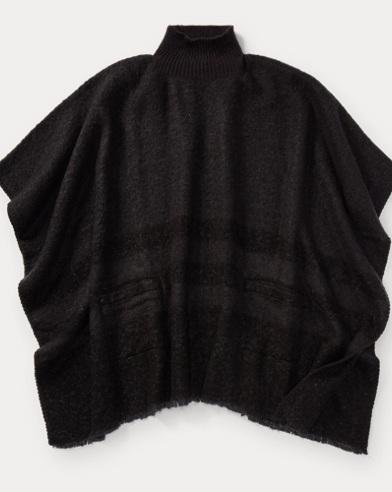 Brushed Saddle-Stripe Poncho
