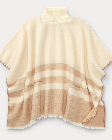 Brushed Saddle-Stripe Poncho
