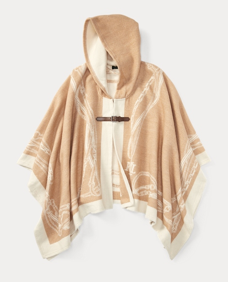 Bridle-Print Hooded Poncho