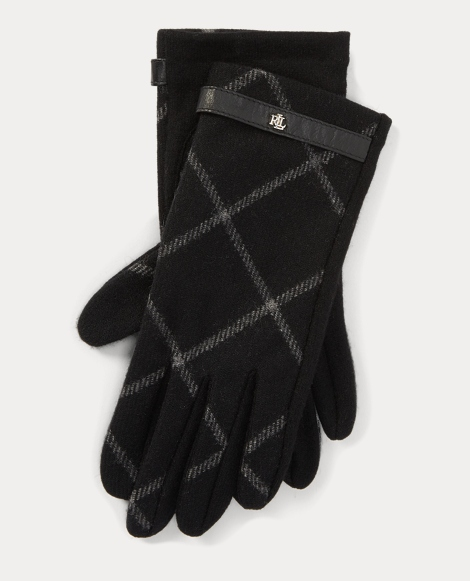 Plaid Wool Touch Screen Gloves