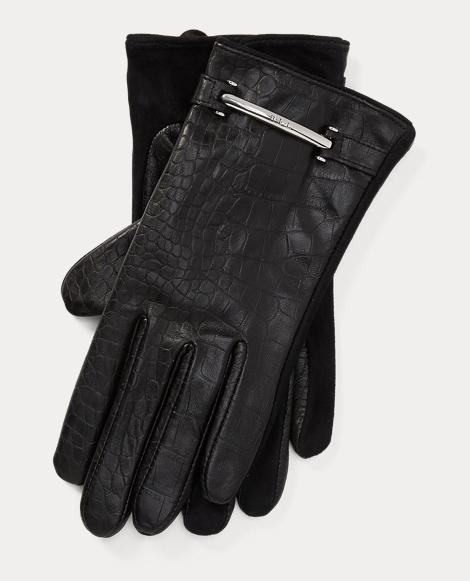 Crocodile-Embossed Gloves