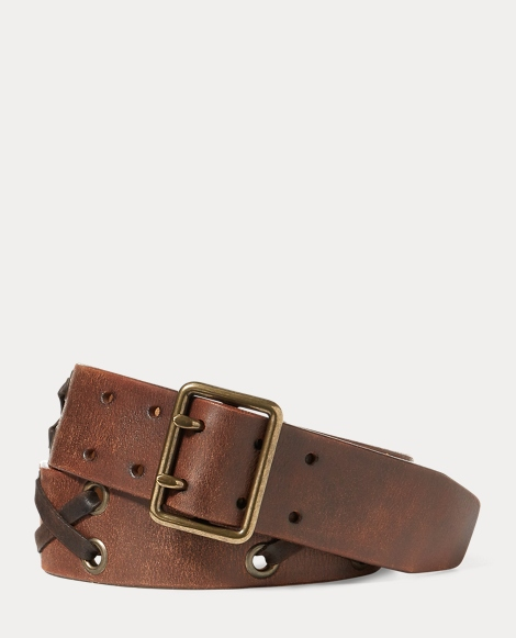 Laced Distressed Leather Belt