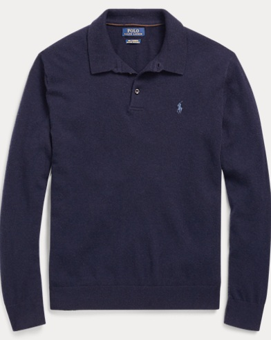 Washable Cashmere Polo Sweater