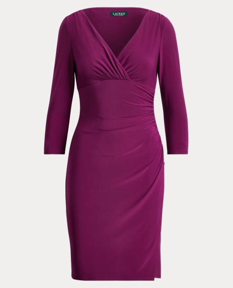 Ruched Jersey Surplice Dress