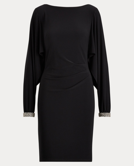Jersey Flutter-Sleeve Dress