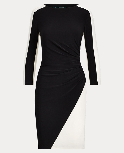 Two-Tone Ruched Jersey Dress