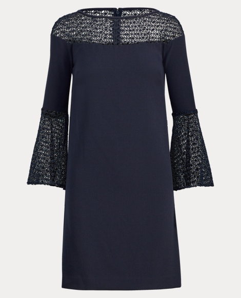 Crochet Lace-Trim Crepe Dress