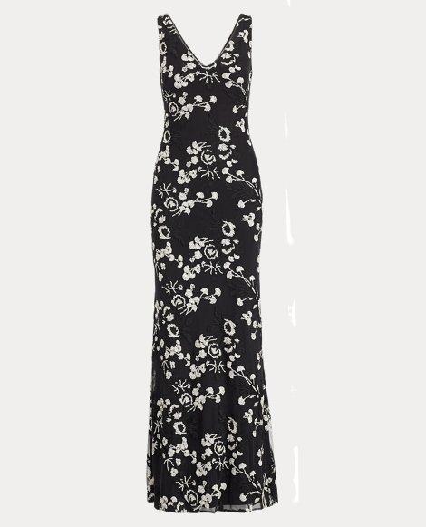 Floral Embroidered Mesh Gown