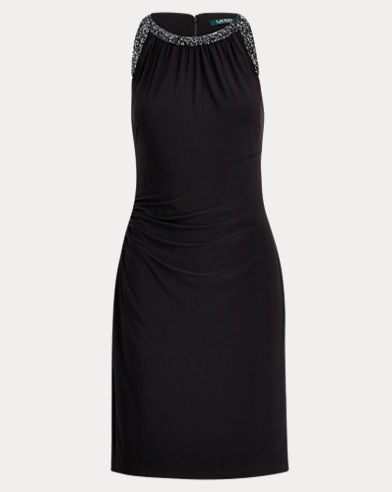 Sequined Cutout Jersey Dress