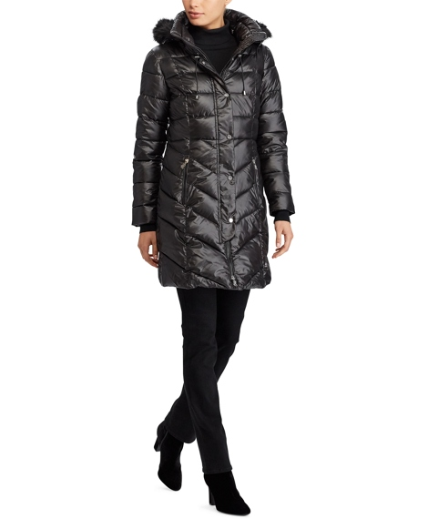 Faux-Fur-Trim Quilted Coat