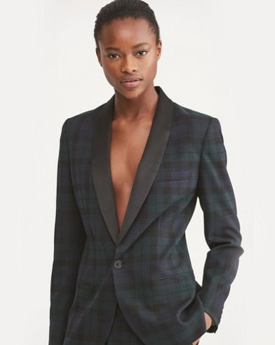 Plaid Stretch Twill Blazer