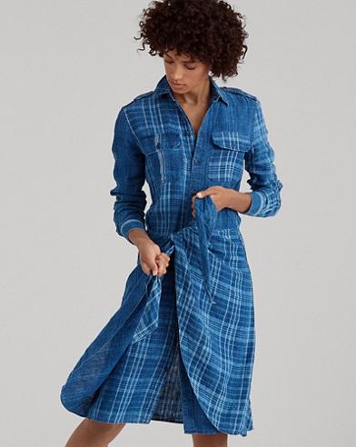 Plaid Linen Shirtdress