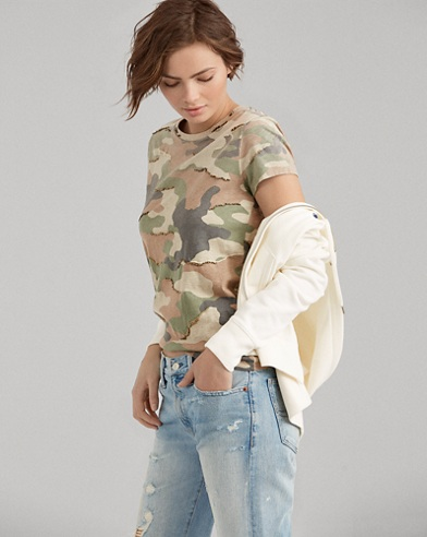 Sequined Camo Cotton T-Shirt