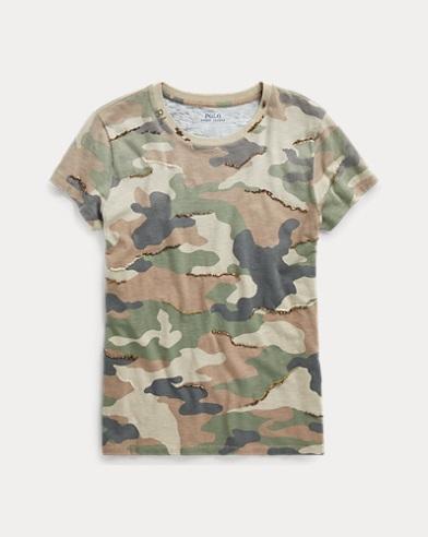 Sequined Camo Cotton T-Shirt
