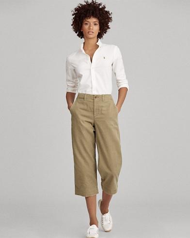 Cropped Wide-Leg Chino Pant