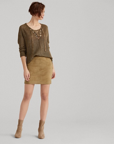 Stretch Suede Miniskirt