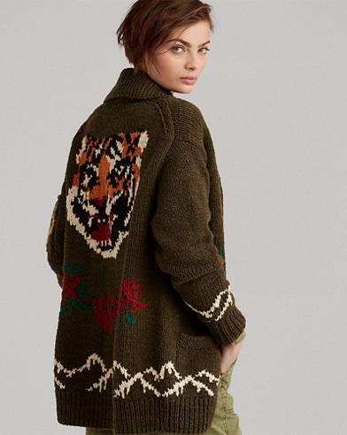 Intarsia-Knit Shawl Cardigan