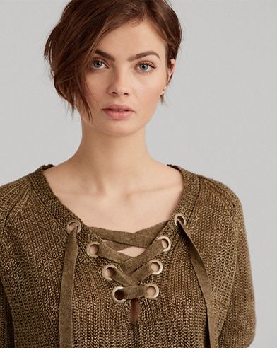 Lace-Up Linen Sweater