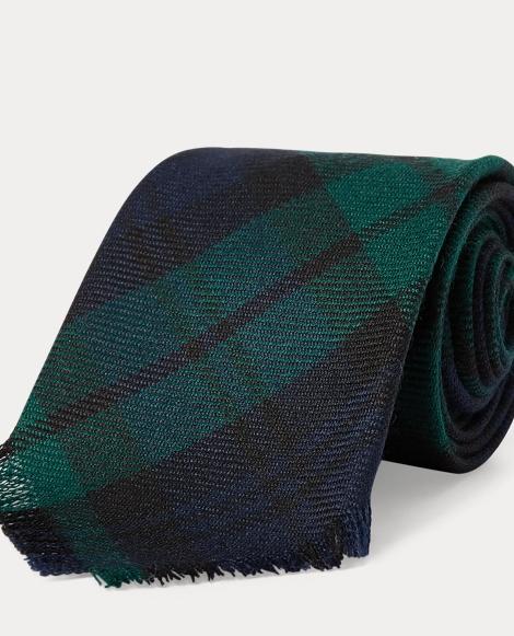 Fringe Tartan Wool Narrow Tie
