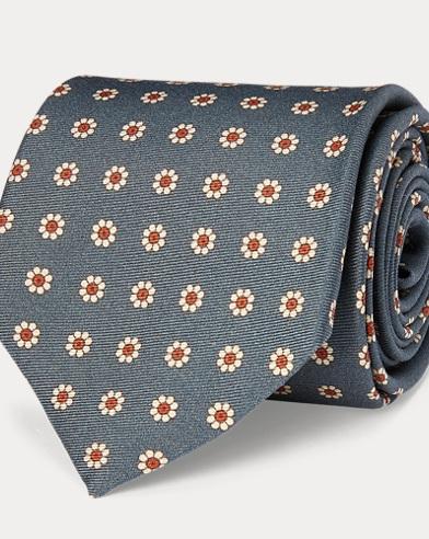 Floral-Print Silk Narrow Tie